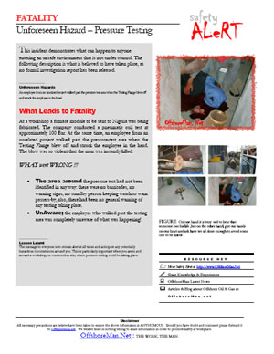 Safety Alert - Pressure Testing Fatality